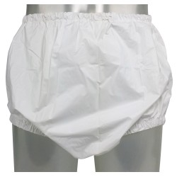 Pull-On PVC Pants with Narrow Elastics, White