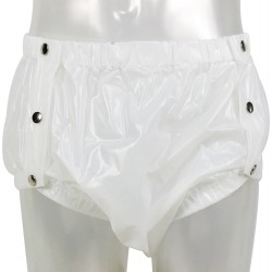 Shapely Plastic Pants with Snaps, White